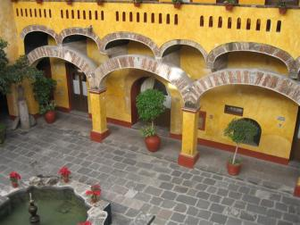 Looking down on the courtyard from our balcony