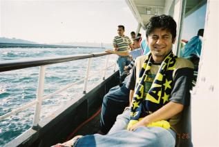 On the ferry to the Asia side, where the Fenerbahce stadium is