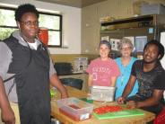 Bailey, Timi and two of the kitchen interns