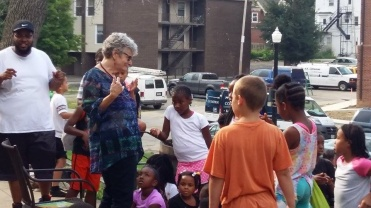 Read-aloud guest Freedom School July 22, 2016, dancing
