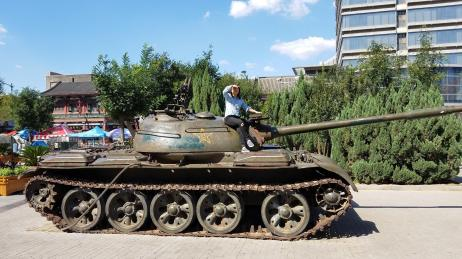 Summer rides the tank