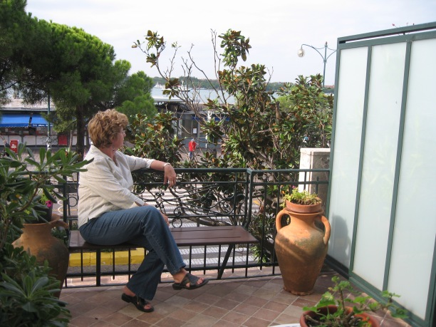 Connie on our room's balcony