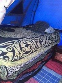 Janet VanMeter's bed at Pennsic