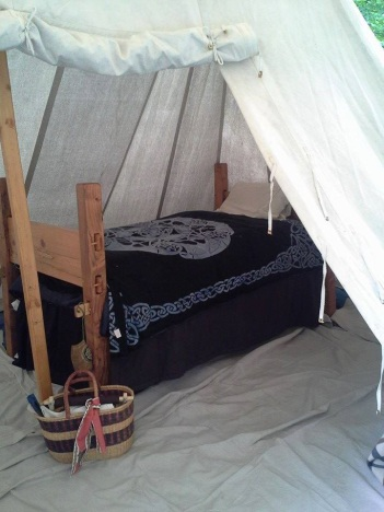Nancy LaMonica Barton's Pennsic bed that she made herself