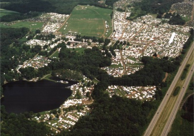 View from the air of Pennsic 2013 with all its 10,000 plus people camping out. Attribution unavailable.