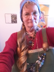 me new green apron dress and blue scarf