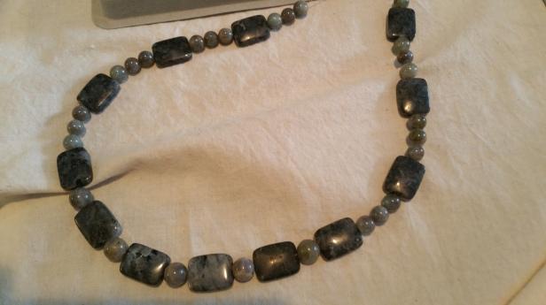 labradorite necklace in progress
