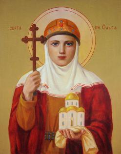 """Saint Princess Olga,"" by Svitozar Nenyuk. Note that she holds a miniature city of Kiev."
