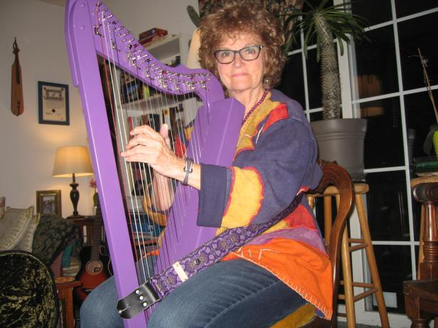 me with purple harp at home February 19, 2018