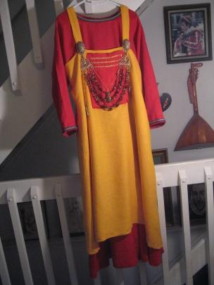 coronation garb in progress, full length