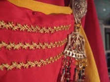 coronation garb in progress, smokkr panel, shows metallic thread, landscap orientation