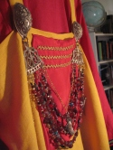coronation garb in progress, smokkr panel, turtle brooches and regalia
