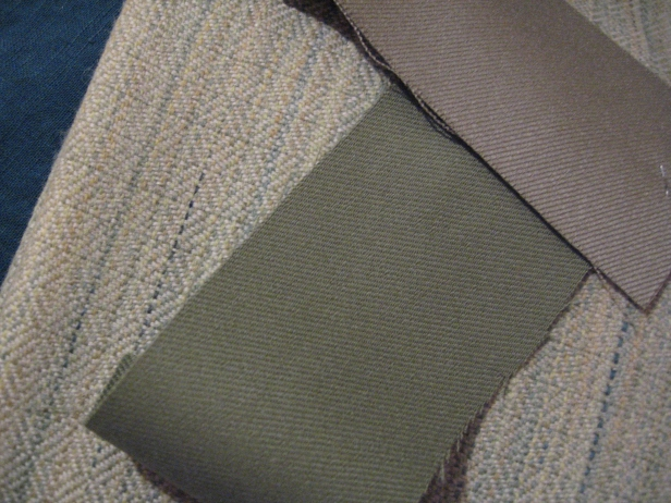 Joy's green wool, sage wool for back, lichen wool for lining, dark teal linen for underdress