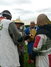 Midrealm Kingdom fighters at Aethelmearc War Practice 2018 plot their next sortie at the battlefield at Cooper's Lake Campground outside of Slippery Rock, PA, USA.