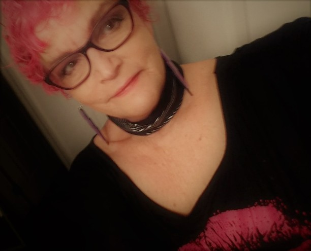 Me with pink party hair, December 31st, 2018.