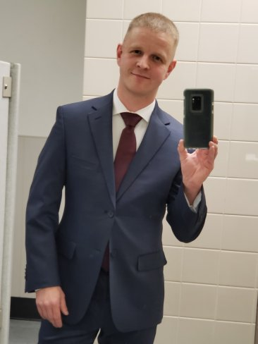 My son Jason in his interview suit, Dec. 2018