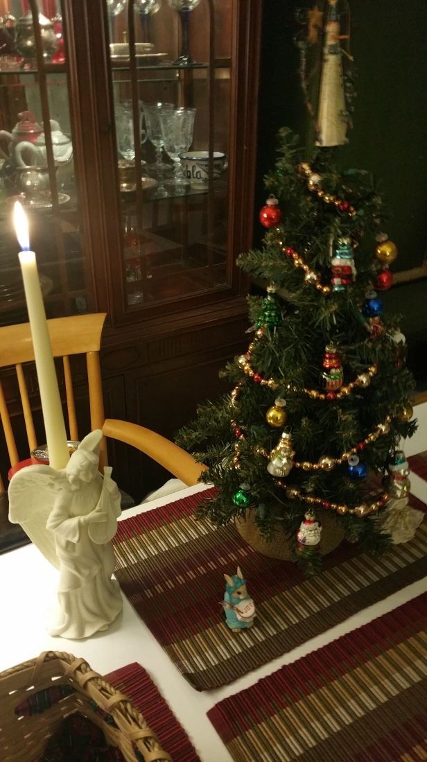 closeup of tabletop Christmas tree and lute playing angel 2019