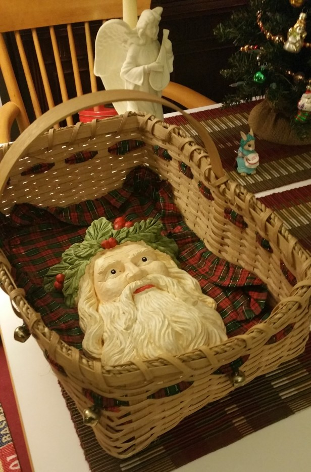Santa's face in Ophelia's Advent basket